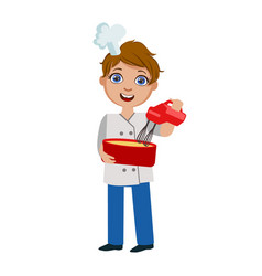 Boy mixing dough with electric mixer cute kid in vector