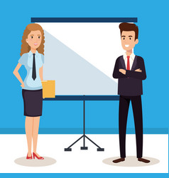 Business couple with paperboard training avatars vector
