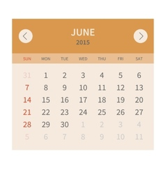 Calendar monthly june 2015 in flat design vector