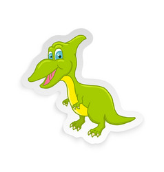 cartoon cute little badinosaur sticker vector image