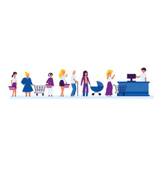 cartoon different characters people waiting in vector image