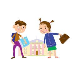 Cartoon schoolboy and schoolgirl on way vector
