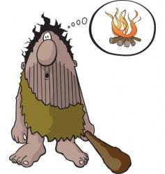 caveman with idea vector image