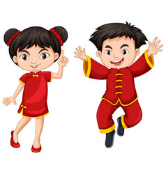 chinese boy and girl in red dress vector image