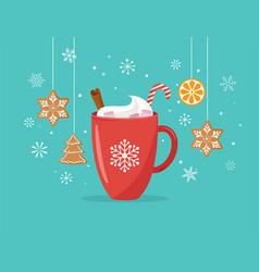 christmas winter scene with a big cocoa mug vector image