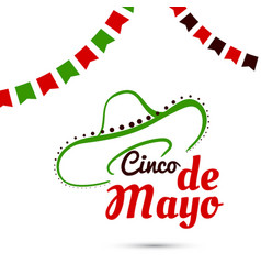 cinco de mayo with sombrero vector image