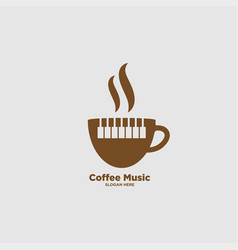 Coffee and music logo design template vector