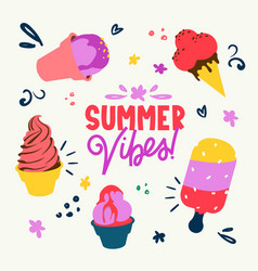 Colorful ice-creams and text lettering ad poster vector