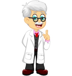 Cute doctor cartoon pointing vector
