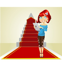 Cute girl with laptop on the career ladder vector