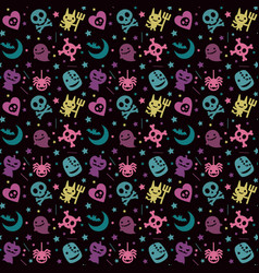 Cute halloween pattern background with pastel vector