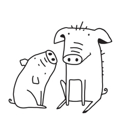 Cute Pigs Outline Funny for Kids Mom vector image