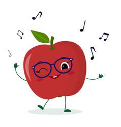 Cute red apple cartoon character in glasses dances vector
