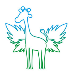 degraded line silhouette giraffe with exotic vector image