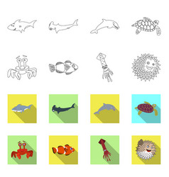 design of sea and animal logo set of sea vector image