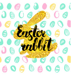 easter rabbit handwritten card vector image