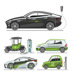 electric car with solar panels eco transport vector image