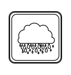 emblem cloud rainning icon vector image