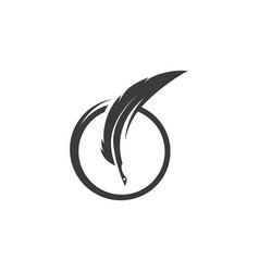 Feather pen icon template vector