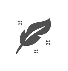 Feather quill pen icon calligraphy nib sign vector