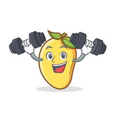 Fitness mango character cartoon mascot vector
