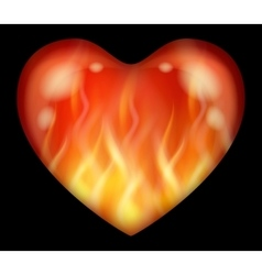 Flaming valentine heart vector