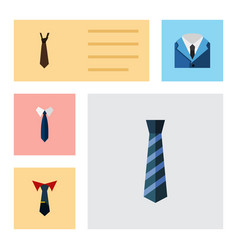 flat icon necktie set of tie suit cravat and vector image