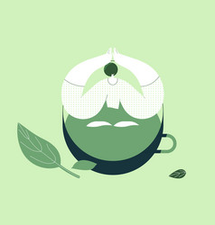 Girl sitting in a cup tea flat design style vector
