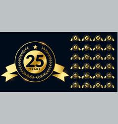 Golden anniversary labels big set vector