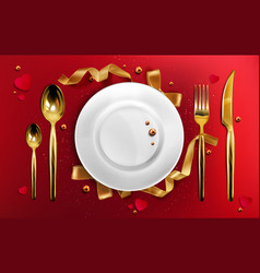 golden cutlery and plate top view christmas dinner vector image