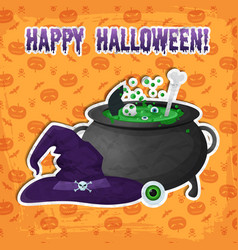 greeting halloween party template vector image