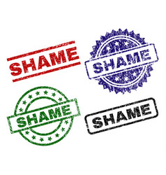 Grunge textured shame seal stamps vector