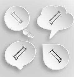 Hacksaw White flat buttons on gray background vector image