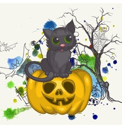 Halloween Background With Pumpkins And Cat vector