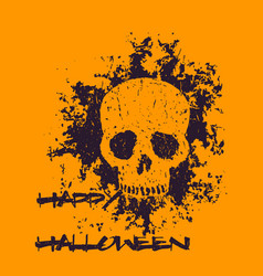 Halloween poster with grunge skull vector