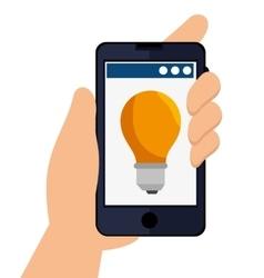 hand holding a bulb light vector image