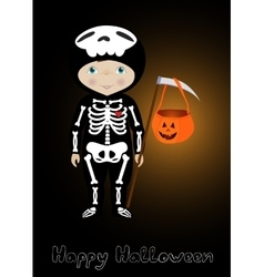 Happy Halloween card with cute skeleton vector