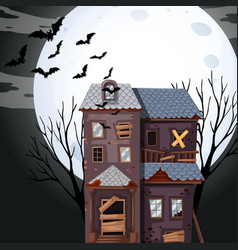 Haunted house on fullmoon night vector