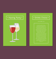 having party drinks choice advert poster with wine vector image