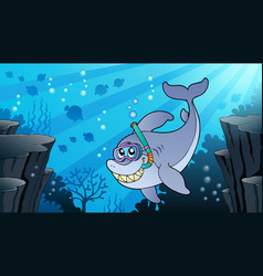 Image with shark theme 1 vector