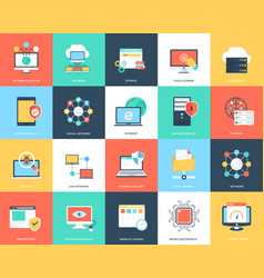 internet technology and security flat icons set vector image