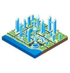 isometric futuristic cityscape vector image