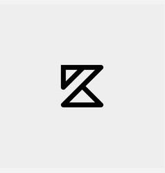 Letter k ak ka z monogram logo design minimal icon vector