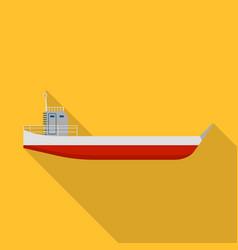 long cargo ship icon flat style vector image