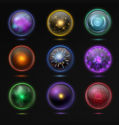 magical crystal orbs glowing energy sphere and vector image
