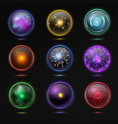 magical crystal orbs glowing energy sphere vector image