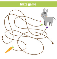 Maze game animals theme help donkey find carrot vector