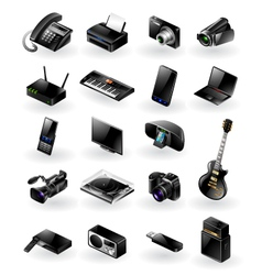 Mixed electronics icon set vector image