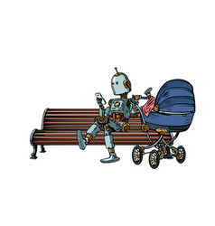 mom robot resting in the park with a baby stroller vector image