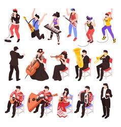 musicians isometric set vector image